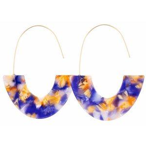 Jewelry - Purple Gold Wire Acrylic Half Circle Hoop Earrings